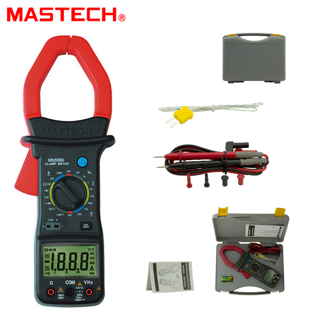 MASTECH MS2000G 1999 count Digital Clamp Meter 2000A Current AC DC Voltage Resistance Temperature Tester 1pc mastech m266 voltage current resistance temperature digital clamp meter