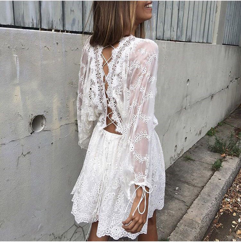 58164dd80c White Lace Dress 2019 Women Elegant Vintage Long Sleeve Hollow Out Backless  Cross Strap Tunic Shirt