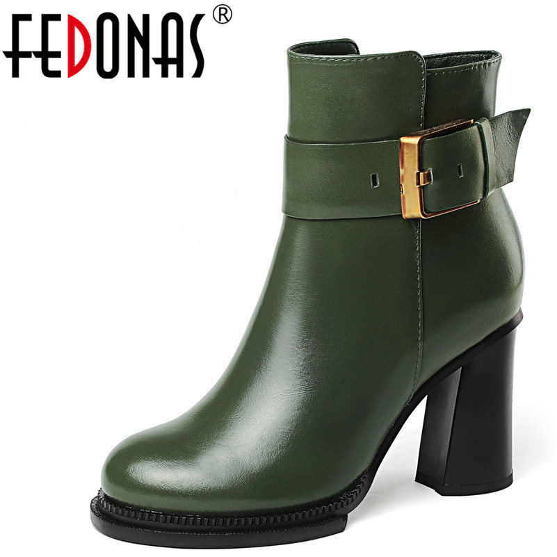 цены FEDONAS 1Fashion Women Ankle Boots Autumn Winter Warm High Heels Shoes Genuine Leather Party Prom Sexy Dancing Shoes Woman Pumps