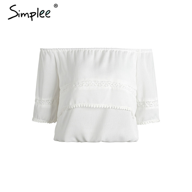 Simplee Casual off shoulder fringe crop top women Sexy chiffon summer beach tops Hollow out short sleeve tops