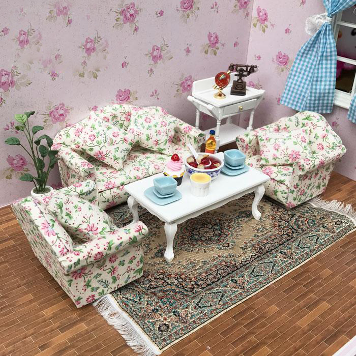 G07-X128 children baby gift Toy 1:12 Dollhouse mini Furniture Miniature rement Sofa with coffee table cluster flowers 4pcs/set