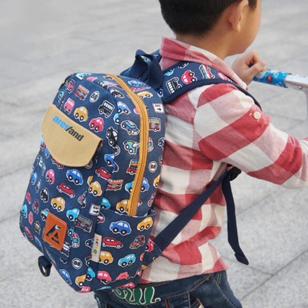 Aresland New Printing Canvas Backpack Rucksack Kindergarten School Student Bag for Boys Girls Kids Children Toddlers