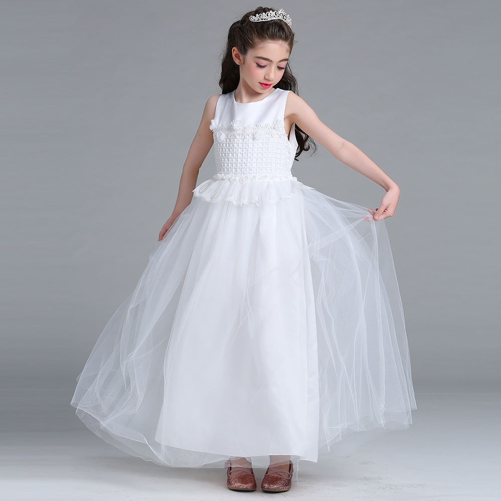 Girl White Evening Dress Flowers Lace Edge Sleeveless Long Section Princess Dress Elegant High-quality Wedding Girls tutu Dress purple girl flowers long section tutu dress 5y birthday princess dress girl dress 6 y holiday evening dress