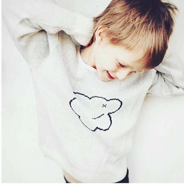 Англия Стиль Унисекс Детские Свитера Дети Белые Облака Хлопок Вязаный Пуловер Топы 2016 Детской Одежды Для 1-4Years