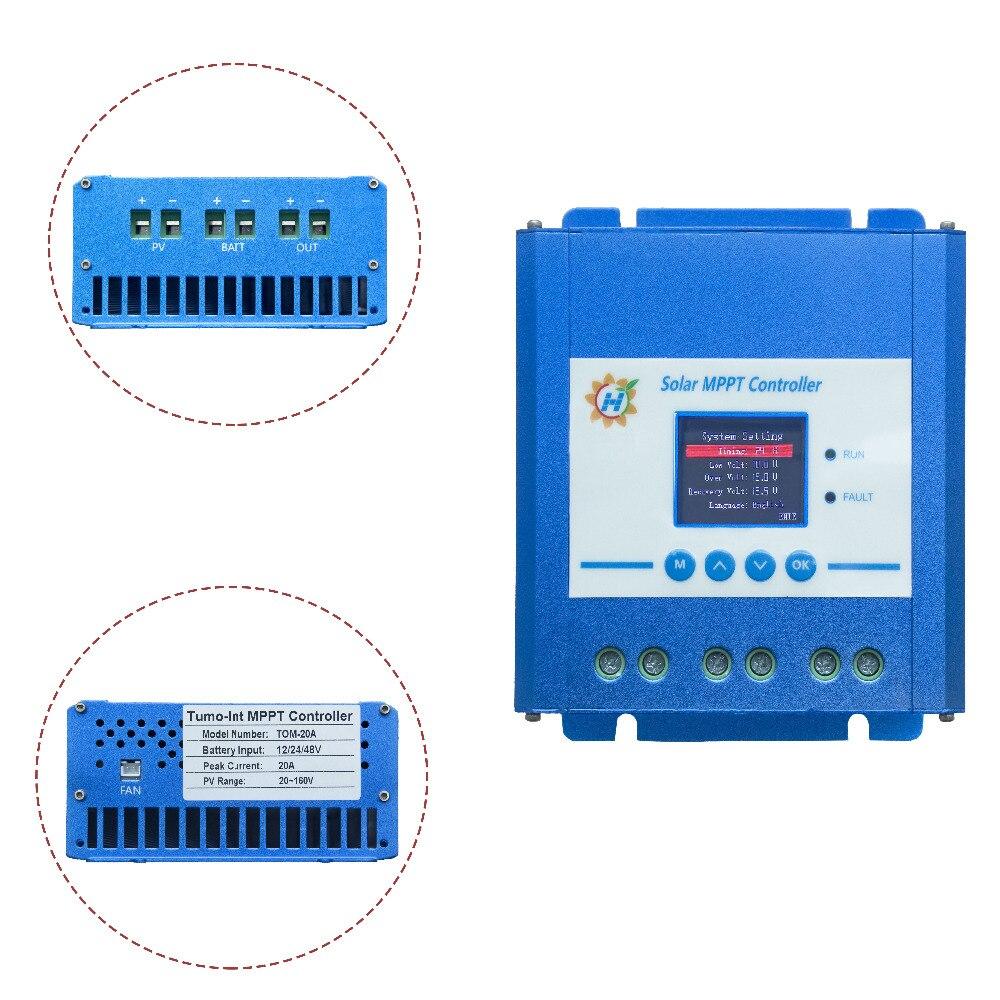 Tumo-Int 20 Amp MPPT Solar Controller, 12/24/48V 120VDC Input