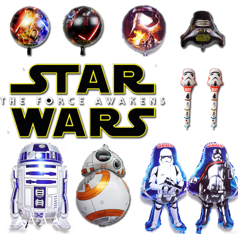 2 pcs / lot star wars balon, The Force membangkitkan globos star wars BB8 dan R2D2 balon, Balon pesta, Balon ulang tahun