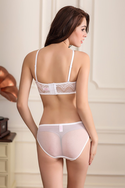 One-Piece panties and bra transparent women underwear bra sexy solid white  lace wire free Back Closure Convertible Straps bra 9c80baa0c