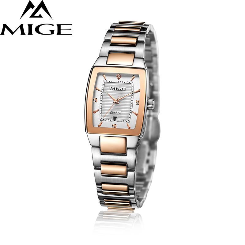 Mige 2017 Hot Sale Top Brand Square Ladies Quartz Watches Hvit Svart Rose Relogio Feminino Kvinne Klokke Vanntett Women Watch