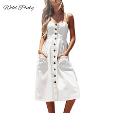 WildPinky Elegant Button Women Dress Pocket Polka Dots White Plus Size Midi Summer Casual Female Lady Beach Vestidos