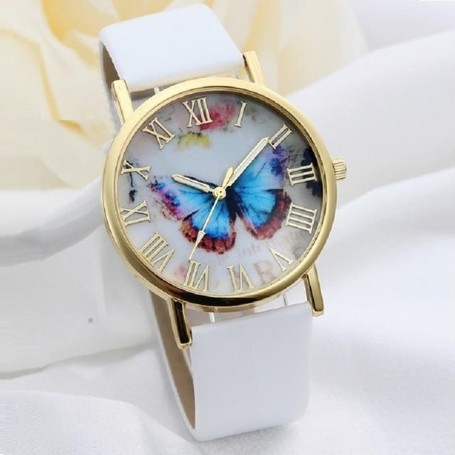Gnova Platinum Blue Butterfly Watch Women Soft PU leather casual wristwatch picture ART golden watch Geneva Style Fashion A977