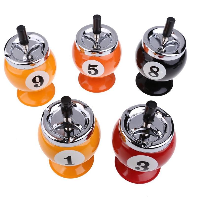 Creative Snooker Balls Ashtray Billiards Model Tobacco Jar ( Numbers are Random Delivery )