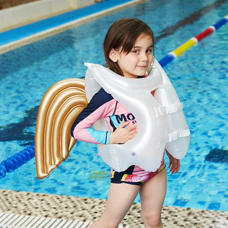 Water Fun Folding Lounge Floating Angel Wings Inflatable Water Swimming Toy For Child Inflatable Pool Rafts Swimming