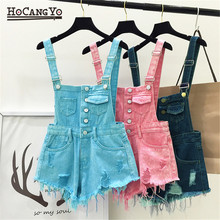 HCYO Women Playsuits Denim Overalls for Womens Short Rompers Casual Tracksuit Shorts Jumpsuits Female Cotton Jumpsuit Playsuit