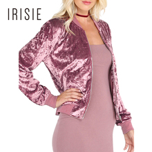 IRISIE Brand 2018 Pink Sweet Female Velvet Coat Spring Casual Slim Ribbed Basic Jacket Zipper Elegant