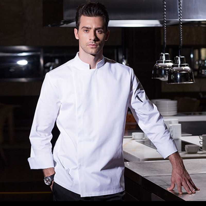 High quality winter long sleeve professional head chef uniform restaurant hotel kitchen grey chef jacket