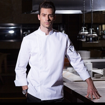 Food service long sleeve professional head chef uniform restaurant hotel kitchen grey jacket coat