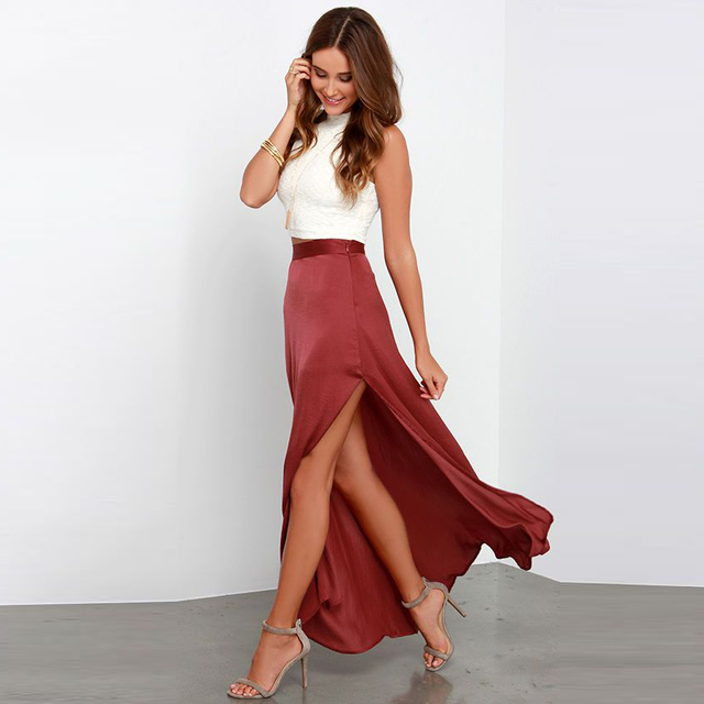 67ac54604d Sexy High Slit Long Maxi Skirt Personalized Women Skirts Zipper Waistline A  Line Floor Length Burgundy Skirt