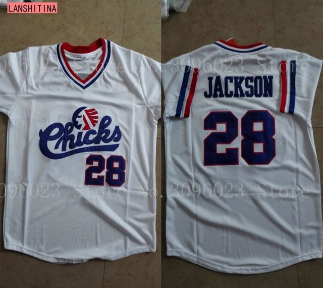 59408656917 LANSHITINA 28 Bo Jackson Chicks Baseball Jersey White Movie Jersey American  Baseball Jersey Cheap Throwback Short Sleevele