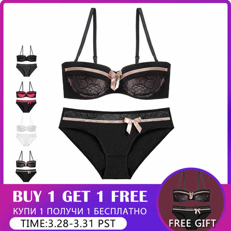 77e93db1b662 CINOON 2019 NEW Lace Bow Lingerie Set 1/2 Cup Sexy Intimates Push Up Bra