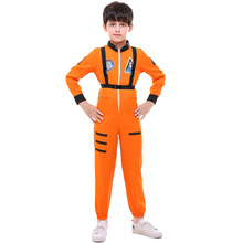 цена на Boy White Orange Astronaut Costume Space Mens Suit Jumpsuit With Strap Kid Gift Book Week Outfit Size S-XL