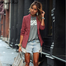 BRIGHT GRIL Red Plaid Jacket Women OL Coat Lapel Slim Single Button Long sleeve Casual Female