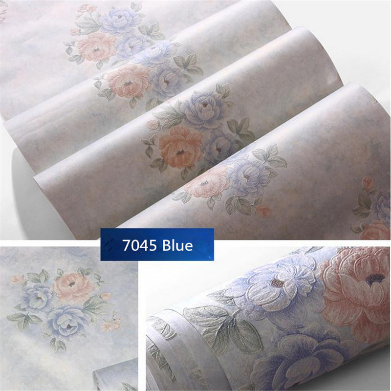 Modern Non Woven Flower Wallpaper Roll Europe Pastoral Wallcovering Bedroom Decor Wall Art Dektop Wallpaper Home HD Emprovement non woven bubble butterfly wallpaper design modern pastoral flock 3d circle wall paper for living room background walls 10m roll