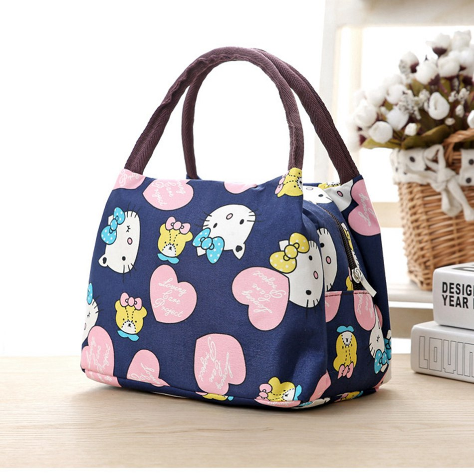 Leisure Cute Animal Hello Kitty Lunch Bag Girl Portable Insulated Cooler Bags Thermal Food Picnic Bags Women Kids Lunch Box Tote aequeen thermal lunch bag for kid cute flamingo picnic boxes canvas cartoon animal printing food cooler bags insulated tote