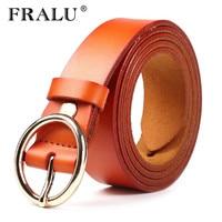 FRALU 2017 Newest Gold Round buckle belts female leisure jeans belt without pin metal buckle leather strap belt women belt