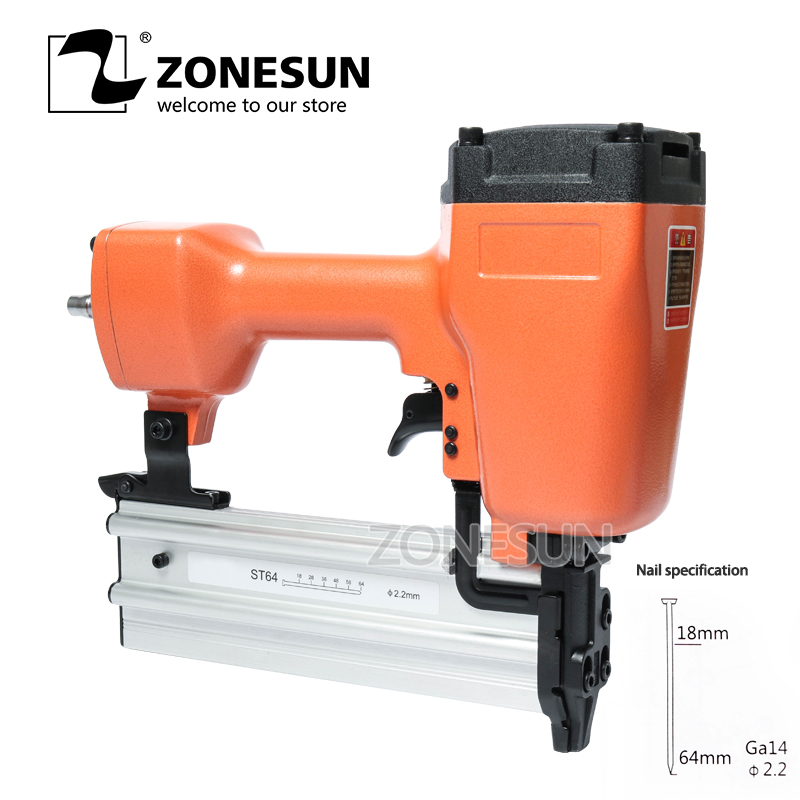 ZONESUN ST64 Steel Iron Nail Gun Pneumatic Micro Pinner Nailer Air Brad Pin Gun For Furniture Wood concrete steel plate