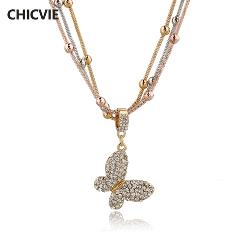 Chicvie Золото Цвет заявление ожерелья Австрийское ожерелье