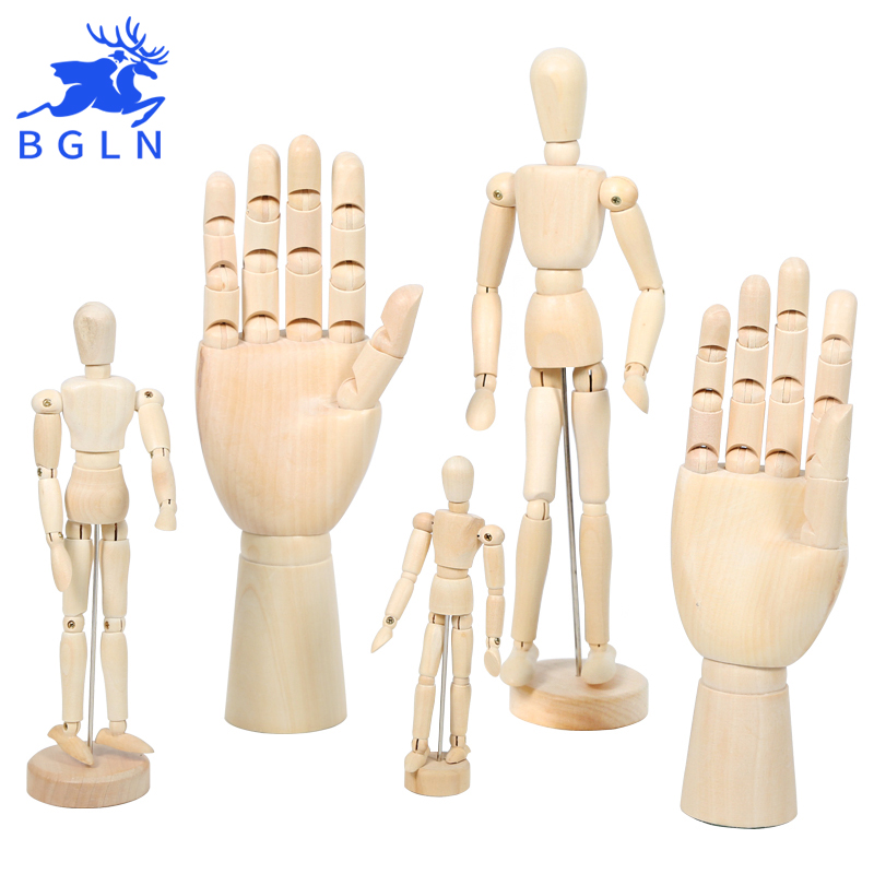 Bgln The 8/12 Inch Wood Comic Tools Wooden Model Puppet Joint Doll Sketch Model,Female Right Hand Male Left Hand Art Supplies new 2pcs female right left vivid foot mannequin jewerly display model art sketch