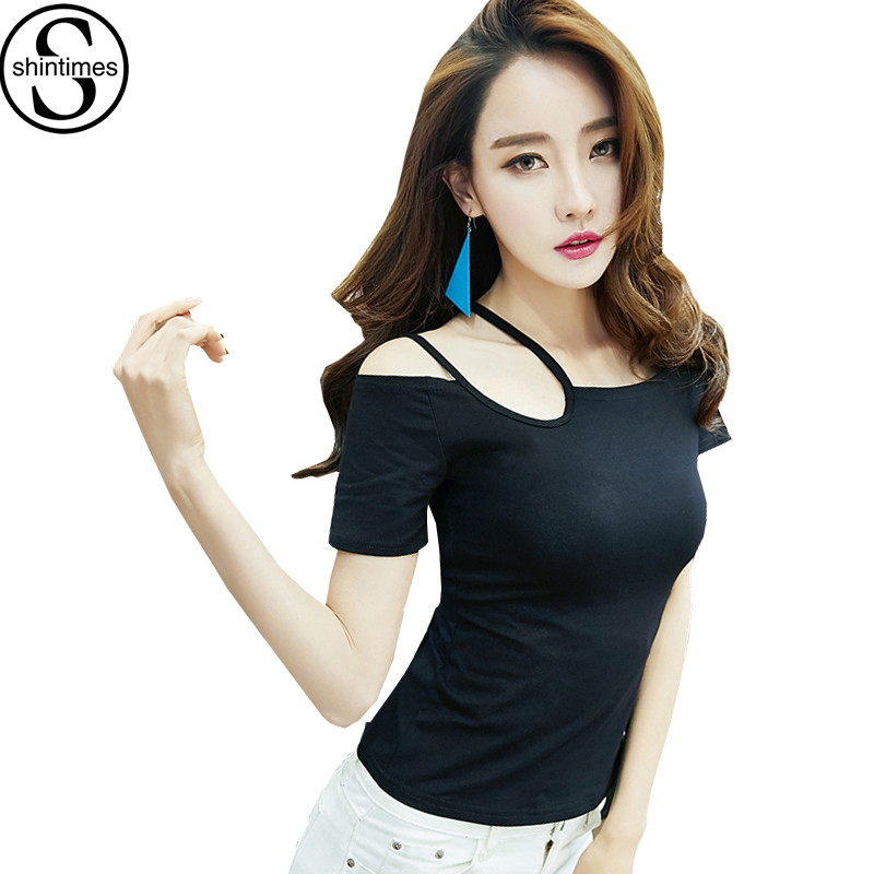 Shintimes Tshirt Femme Summer 2018 Off The Shoulder Tops For Women T-Shirt Cotton Korean Clothes Sexy T Shirt Camisetas Mujer