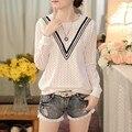 Fall 2016 Fashion O-neck Collar Lace & Blouses Shirt Long Sleeved Loose Shirt Korean Female Bottoming Shirt 63i 30