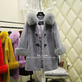 Sheepskin coat fox fur collar fur coat Girls long section of high-end custom Specials