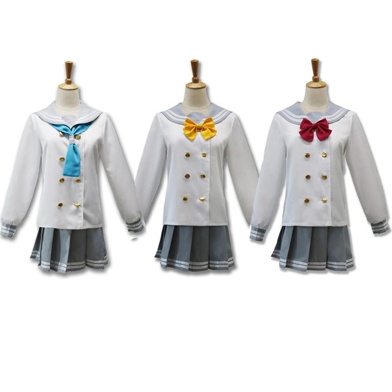 Anime Love Live Costume  Love Live Aqours School Uniforms Takami Chika Girls Sailor Uniforms Cosplay Costume Gifts