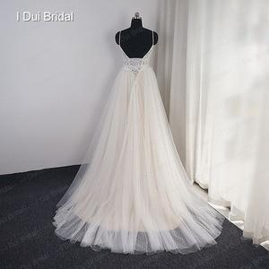 Image 3 - Dot Tulle Beach Wedding Dress Spaghetti Pearl Beaded Strap Bridal Gown