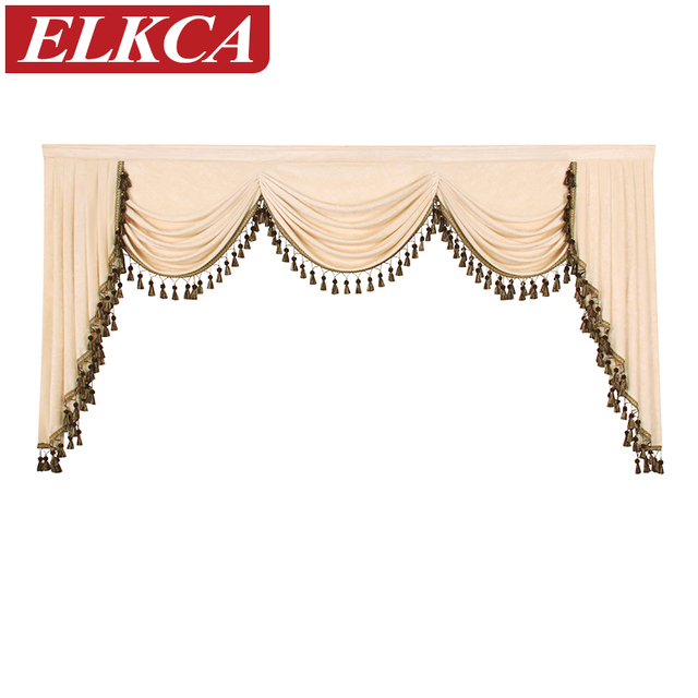 Curtains With Valance For Living Room Corner Thick Chenille Solid Color Valances European Luxury Bedroom Curtain Pelmet Swag