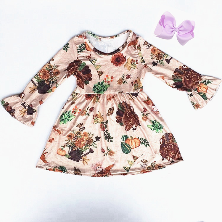 New Children Thanksgiving outfit kids Girl Fall/winter Boutique Clothing girls Western Girl party dress winter clothes match bow 1