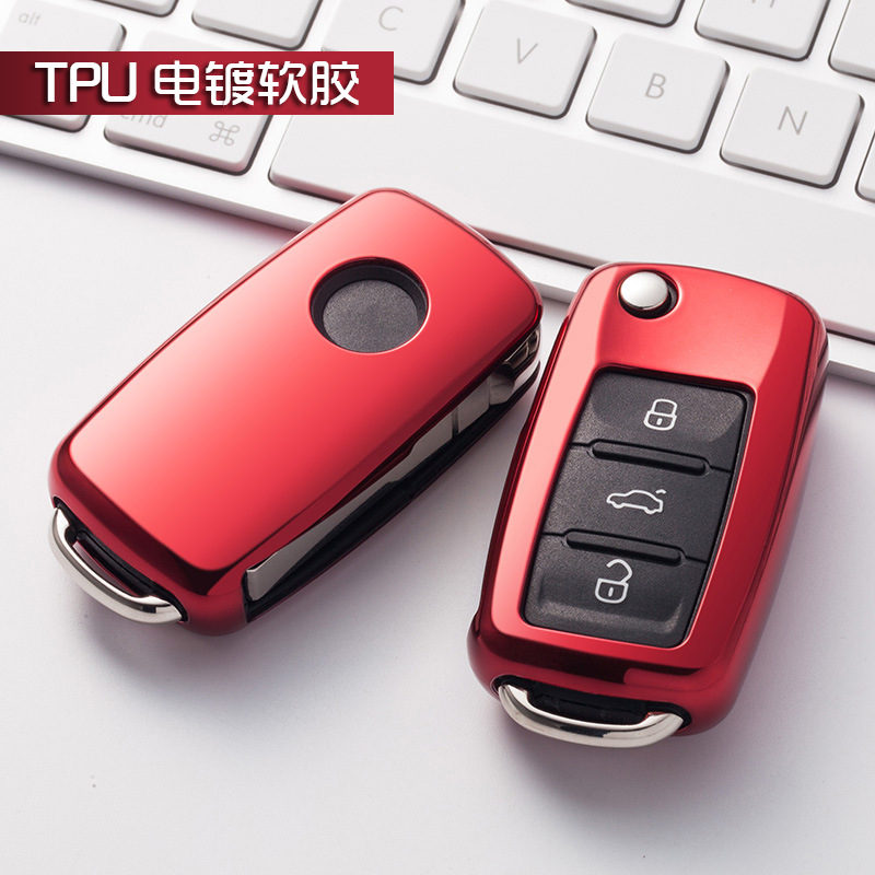 цена на Soft TPU car key cover case shell fob for VW Golf Bora Jetta POLO GOLF Passat For Skoda Octavia A5 Fabia For SEAT Ibiza Leon