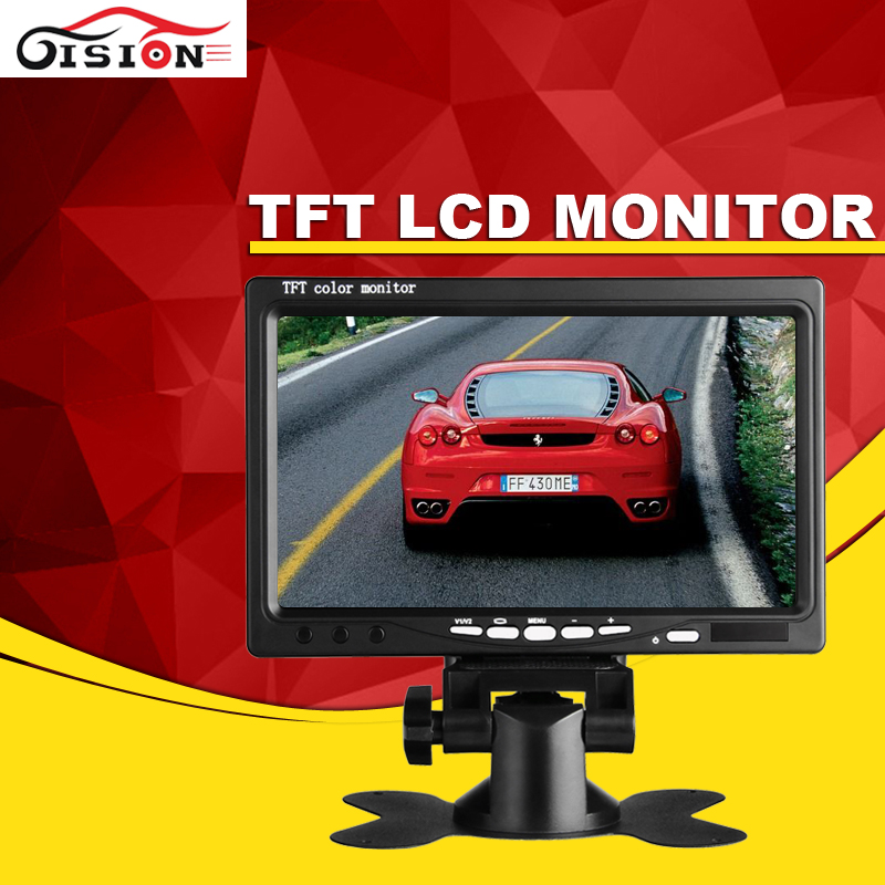 7 TFT LCD Car Rear View Parking Monitor Foldable Auto Rearview Backup Monitors 2 Video Input for Reverse Camera DVD/DVR/GPS
