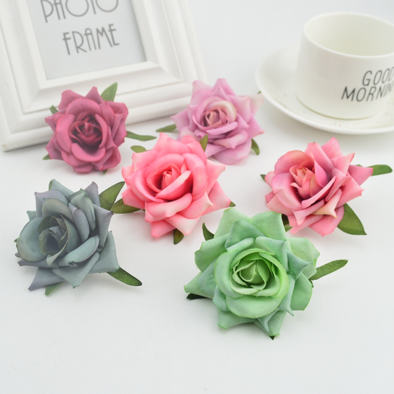 1pcs Cheap High Quality Silk Handmade Artificial Flowers Family Banquet DIY Decorative Wedding Scrapbook People Rose