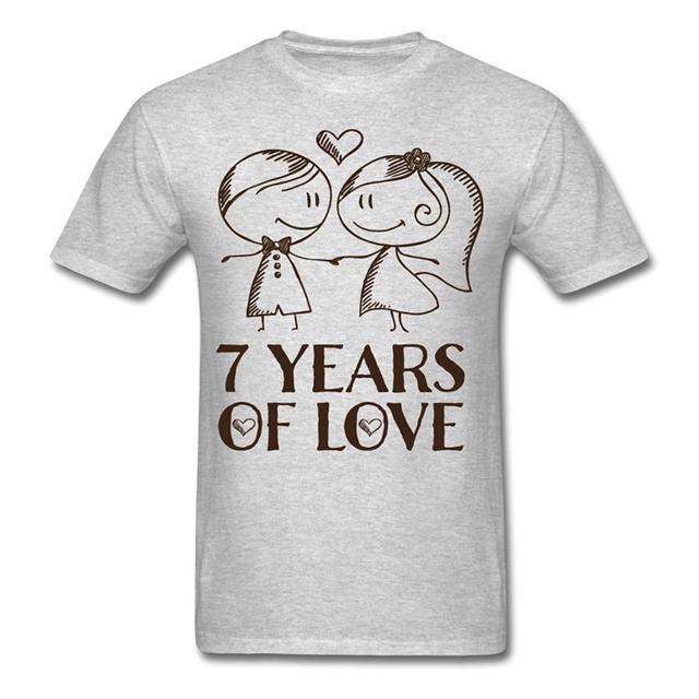 Summer The New Fashion MenS Crew Neck Short Design T Shirts 7Th Wedding Anniversary Love Couple
