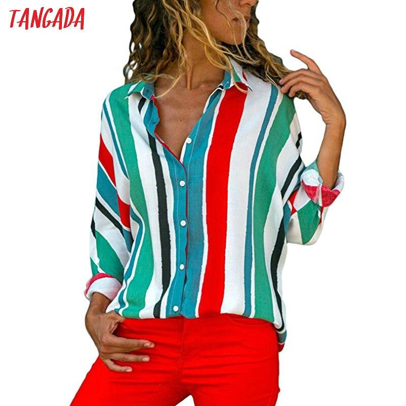 Tangada women blouse shirt floral autumn long lseeve boho chiffon blouse big size stripe casual ladies tops female clothing aon2 4