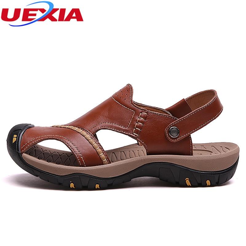 UEXIA 2018 New Leather Sandals Shoes Fashion Men Beach Breathable Male Sandal Summer Shoes Rubber Bottom Flip Flop Breathable