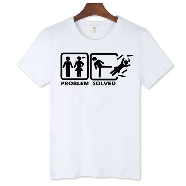 8a1fc0632eb0d2 Problem Solved Funny T-Shirt Men Street Summer Street Wear Style White T-Shirt  Men Cotton in Soft Cotton Tees 3xl xxs