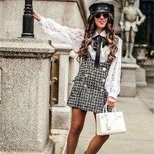 Spring Autumn Winter Women Twill Tweed DRESS with Shoulder Straps Vintage Tassel Buttons High Waist Suspender dress Button Slim