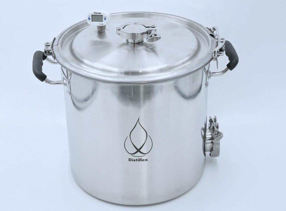 22L Pot, Boiler, Tank, Fermenter  with lid  1.5 OD50.5mm   Distillation, Rectification, Sanitary Steel 304 22L Pot, Boiler, Tank, Fermenter  with lid  1.5 OD50.5mm   Distillation, Rectification, Sanitary Steel 304