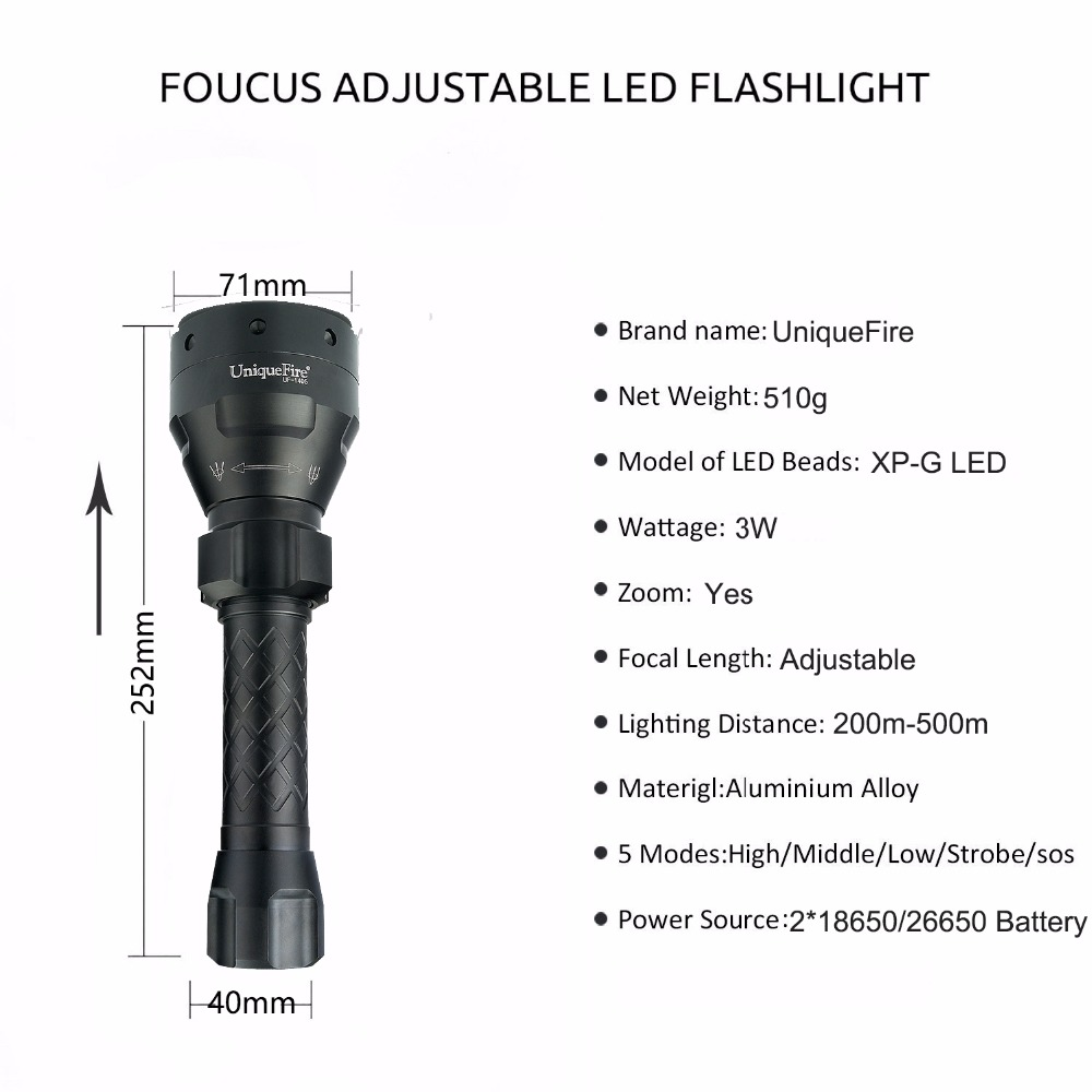 Uniquefire Blacklight 300 LM 5 ModesUF-1405 CREE XPG LED Flashlight Focus Lamp For 2*18650/26650 Rechargeable Battery Black adamex avila 27p brown beige