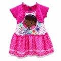 Venta de 2016 Muchachas Rosadas Doc Mcstuffins Vestido de Verano 100% Algodón Vestidos de Moda Niños Niñas Nuevo Verano Ropa Para 2-4años