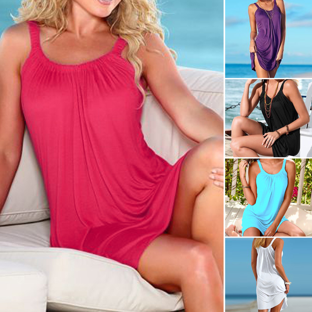 Women Beach Cover-Ups Summer Sleeveless Beachwear Swim Beach Cover Up Dress Short Mini Dress Solid Beach Thong Slim Pool wear 3